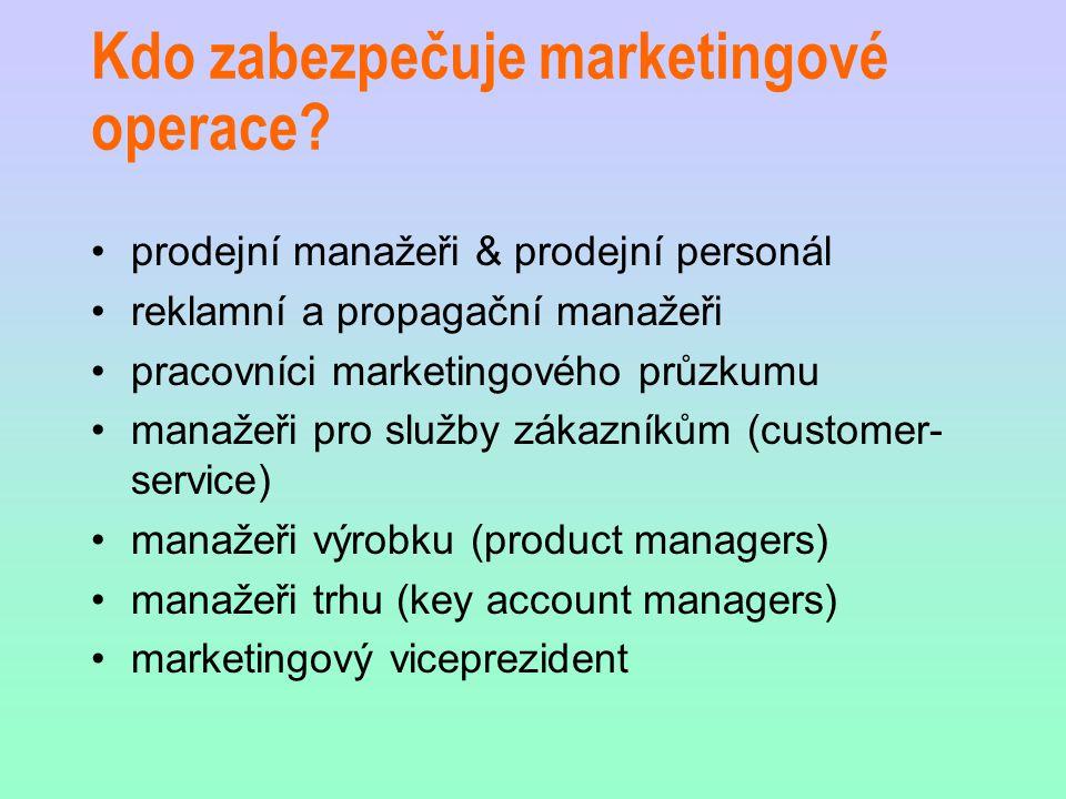Kdo zabezpečuje marketingové operace? prodejní manažeři & prodejní personál reklamní a propagační manažeři pracovníci marketingového průzkumu manažeři