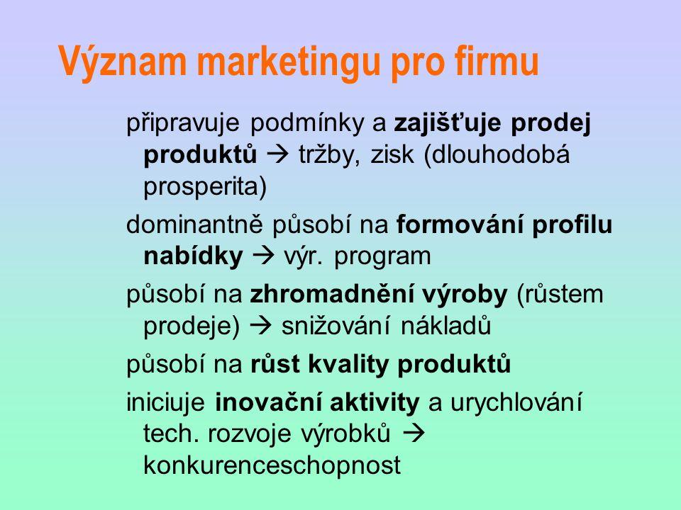 Význam marketingu pro firmu připravuje podmínky a zajišťuje prodej produktů  tržby, zisk (dlouhodobá prosperita) dominantně působí na formování profi