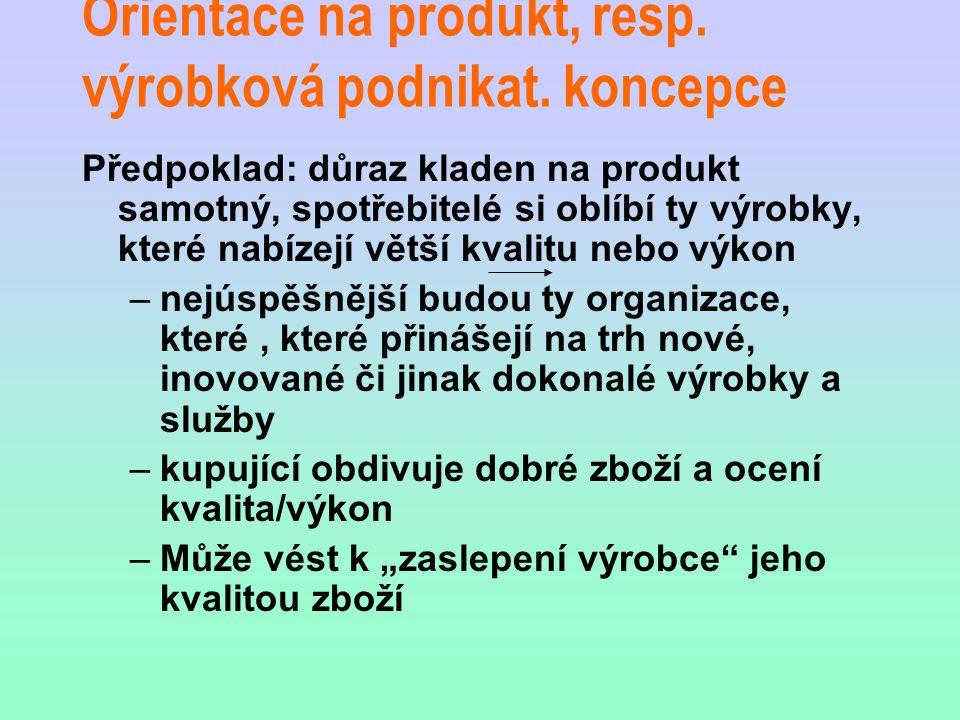 Orientace na produkt, resp. výrobková podnikat. koncepce Předpoklad: důraz kladen na produkt samotný, spotřebitelé si oblíbí ty výrobky, které nabízej