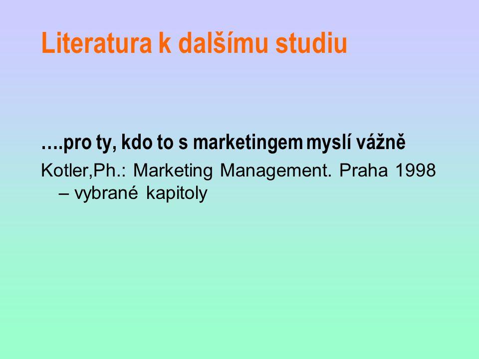 Literatura k dalšímu studiu ….pro ty, kdo to s marketingem myslí vážně Kotler,Ph.: Marketing Management. Praha 1998 – vybrané kapitoly