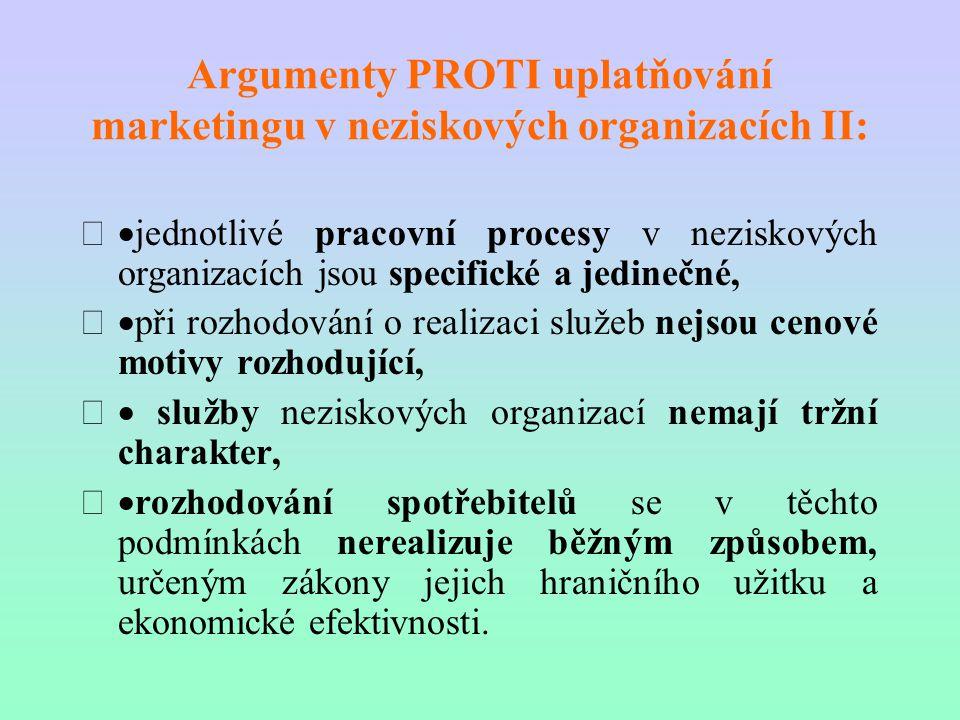 Argumenty PROTI uplatňování marketingu v neziskových organizacích II:  jednotlivé pracovní procesy v neziskových organizacích jsou specifické a jedi