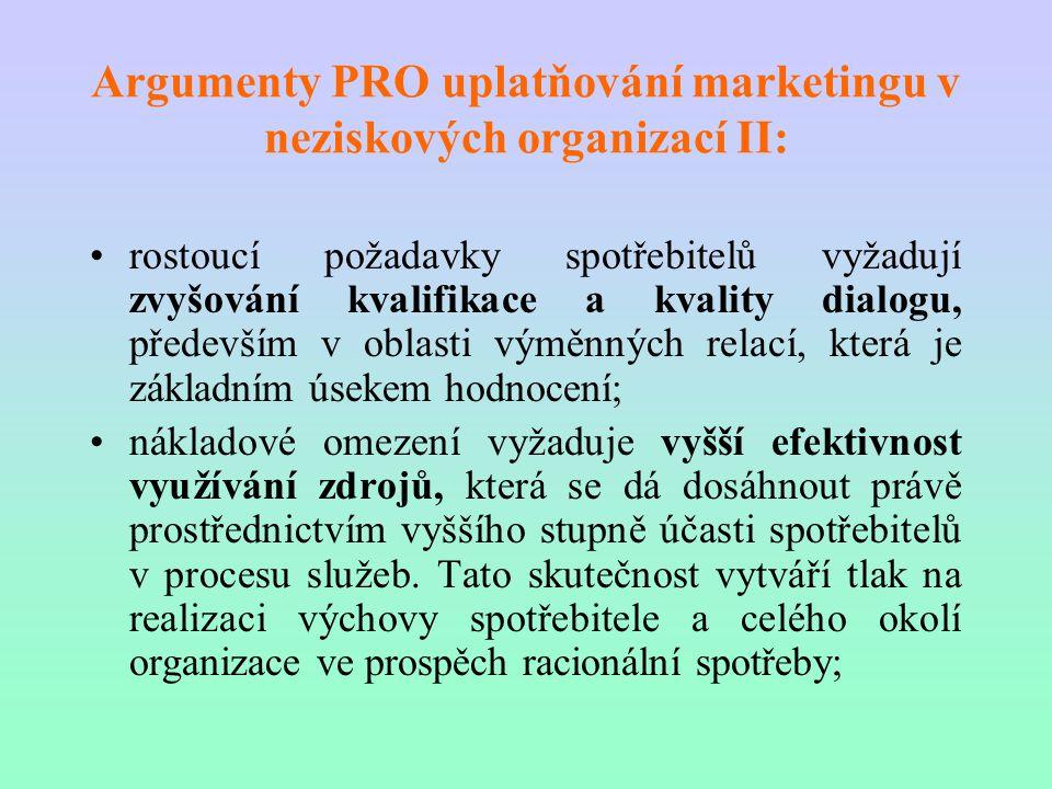 Argumenty PRO uplatňování marketingu v neziskových organizací II: rostoucí požadavky spotřebitelů vyžadují zvyšování kvalifikace a kvality dialogu, př