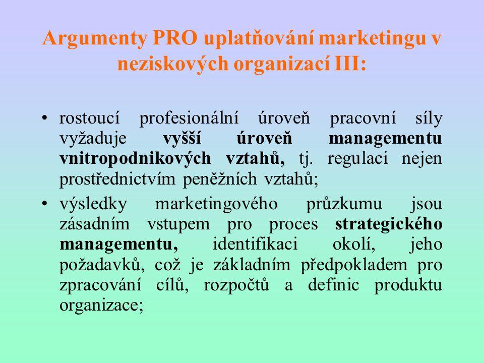 Argumenty PRO uplatňování marketingu v neziskových organizací III: rostoucí profesionální úroveň pracovní síly vyžaduje vyšší úroveň managementu vnitr