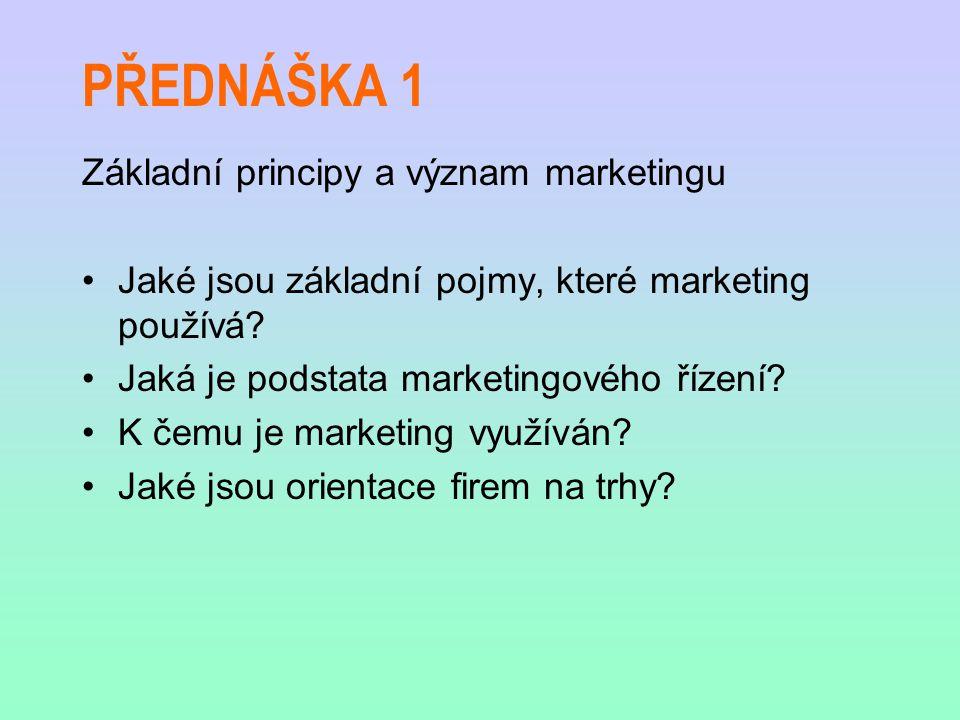 PŘEDNÁŠKA 1 Základní principy a význam marketingu Jaké jsou základní pojmy, které marketing používá? Jaká je podstata marketingového řízení? K čemu je