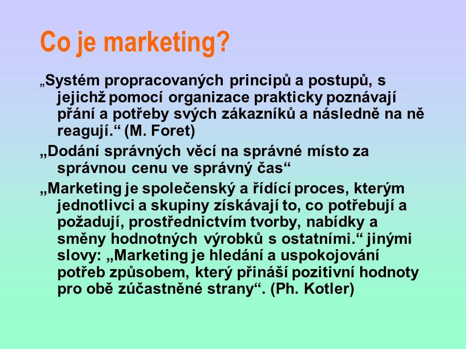 """Co je marketing? """"Systém propracovaných principů a postupů, s jejichž pomocí organizace prakticky poznávají přání a potřeby svých zákazníků a následně"""