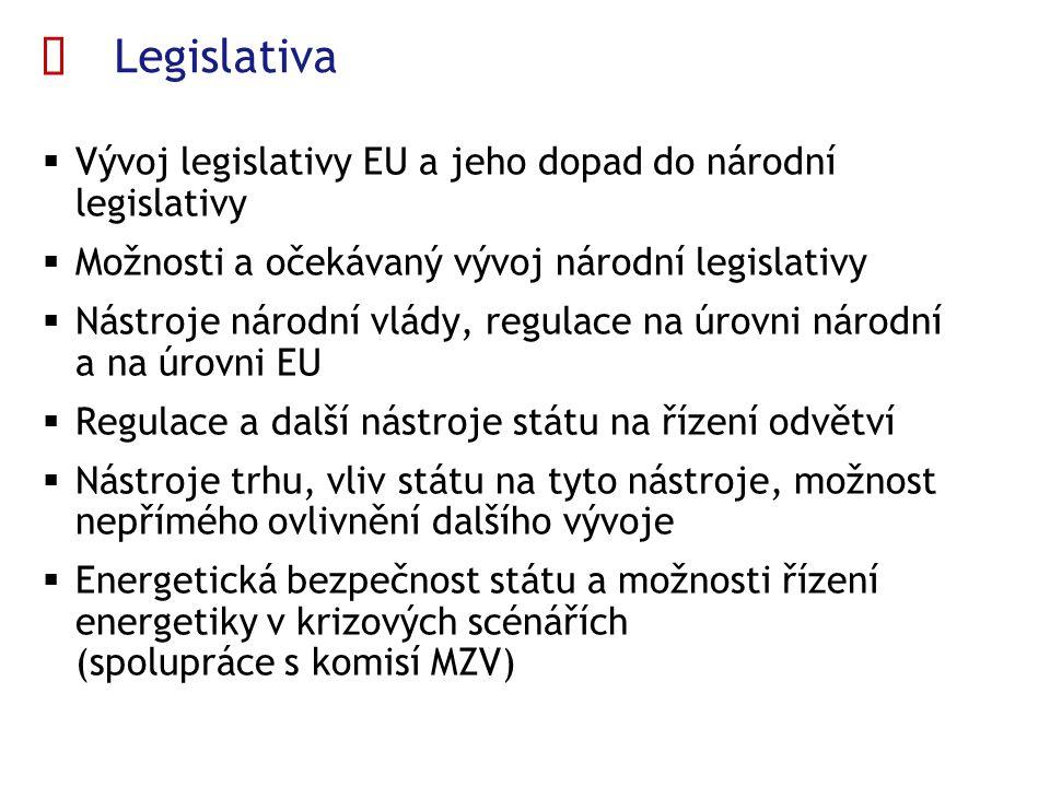  Legislativa  Vývoj legislativy EU a jeho dopad do národní legislativy  Možnosti a očekávaný vývoj národní legislativy  Nástroje národní vlády, regulace na úrovni národní a na úrovni EU  Regulace a další nástroje státu na řízení odvětví  Nástroje trhu, vliv státu na tyto nástroje, možnost nepřímého ovlivnění dalšího vývoje  Energetická bezpečnost státu a možnosti řízení energetiky v krizových scénářích (spolupráce s komisí MZV)