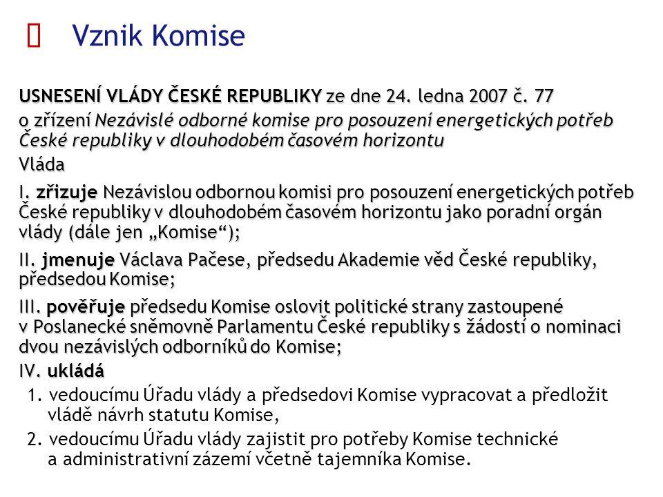  Vznik Komise USNESENÍ VLÁDY ČESKÉ REPUBLIKY ze dne 24. ledna 2007 č. 77 USNESENÍ VLÁDY ČESKÉ REPUBLIKY ze dne 24. ledna 2007 č. 77 o zřízení Nezávis