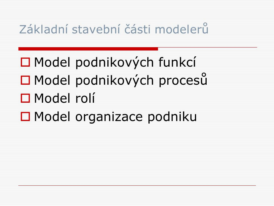 Základní stavební části modelerů  Model podnikových funkcí  Model podnikových procesů  Model rolí  Model organizace podniku