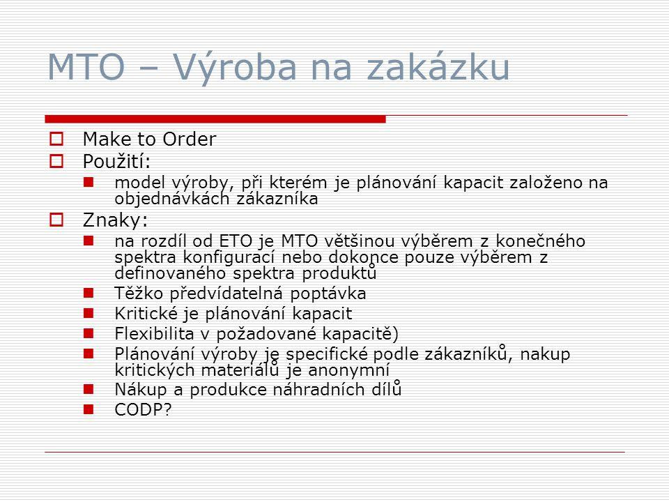MTO – Výroba na zakázku  Make to Order  Použití: model výroby, při kterém je plánování kapacit založeno na objednávkách zákazníka  Znaky: na rozdíl od ETO je MTO většinou výběrem z konečného spektra konfigurací nebo dokonce pouze výběrem z definovaného spektra produktů Těžko předvídatelná poptávka Kritické je plánování kapacit Flexibilita v požadované kapacitě) Plánování výroby je specifické podle zákazníků, nakup kritických materiálů je anonymní Nákup a produkce náhradních dílů CODP?