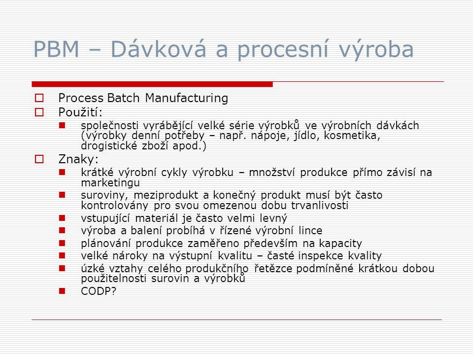 PBM – Dávková a procesní výroba  Process Batch Manufacturing  Použití: společnosti vyrábějící velké série výrobků ve výrobních dávkách (výrobky denní potřeby – např.