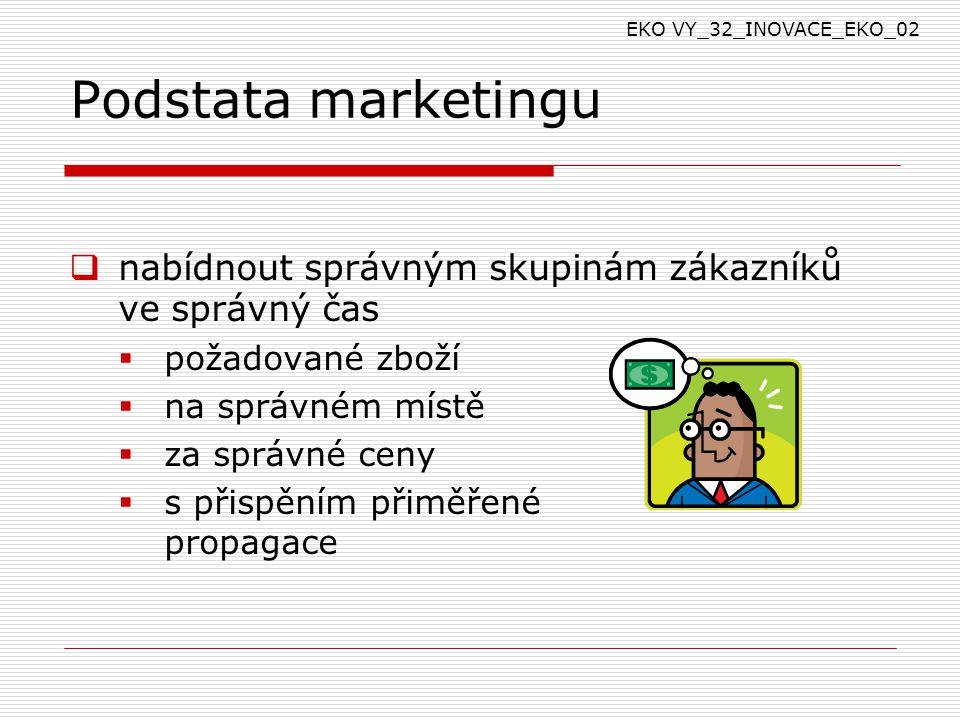Podstata marketingu  podstatou marketingu je:  zkoumání potřeb a požadavků spotřebitelů (metody marketingového výzkumu)  reakce na tyto potřeby - vývoj, výroba a prodej zboží řešícího problémy spotřebitelů  ovlivňování potřeb zákazníků pro podnik žádoucím směrem  uspokojování a ovlivňování potřeb spotřebitelů - prostředek pro zajištění rozvoje podniku EKO VY_32_INOVACE_EKO_02
