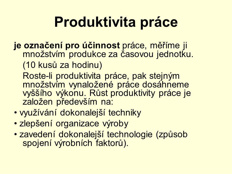 Produktivita práce je označení pro účinnost práce, měříme ji množstvím produkce za časovou jednotku. (10 kusů za hodinu) Roste-li produktivita práce,