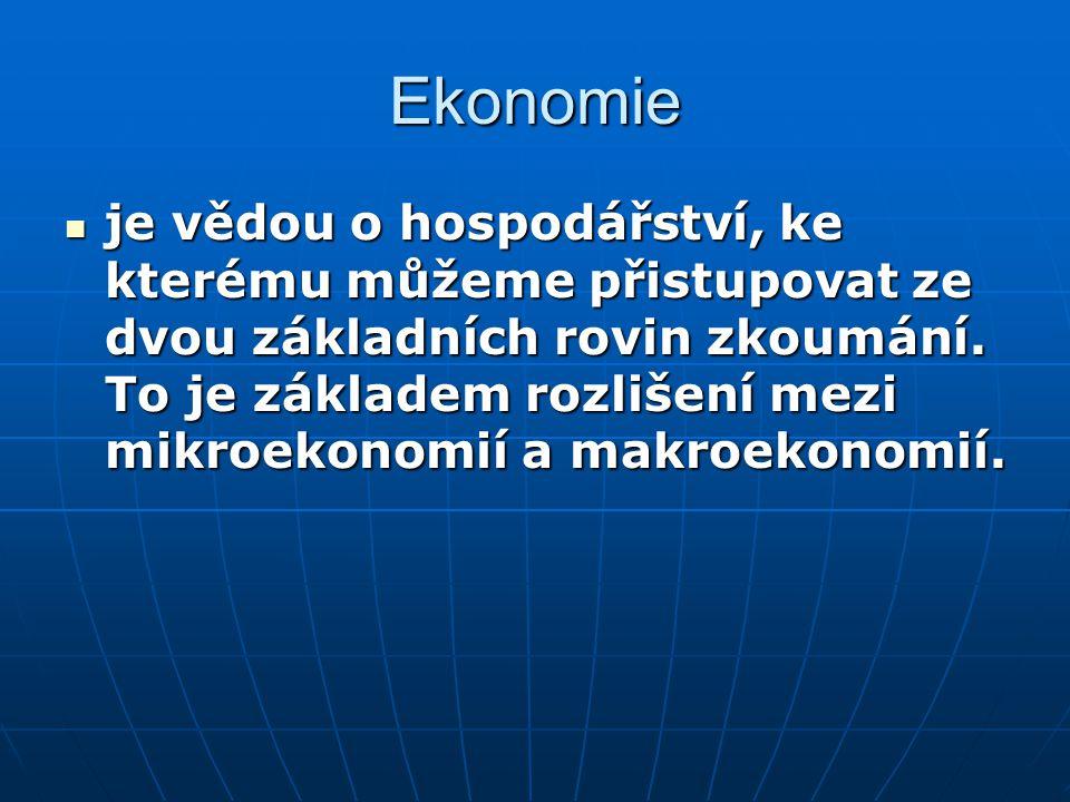 Ekonomie je vědou o hospodářství, ke kterému můžeme přistupovat ze dvou základních rovin zkoumání. To je základem rozlišení mezi mikroekonomií a makro