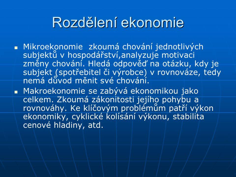 Rozdělení ekonomie Mikroekonomie zkoumá chování jednotlivých subjektů v hospodářství,analyzuje motivaci změny chování. Hledá odpověď na otázku, kdy je