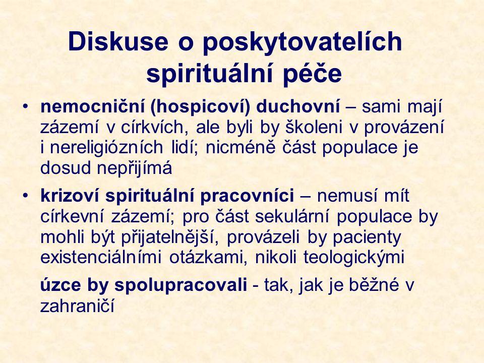 Diskuse o poskytovatelích spirituální péče nemocniční (hospicoví) duchovní – sami mají zázemí v církvích, ale byli by školeni v provázení i nereligiózních lidí; nicméně část populace je dosud nepřijímá krizoví spirituální pracovníci – nemusí mít církevní zázemí; pro část sekulární populace by mohli být přijatelnější, provázeli by pacienty existenciálními otázkami, nikoli teologickými úzce by spolupracovali - tak, jak je běžné v zahraničí
