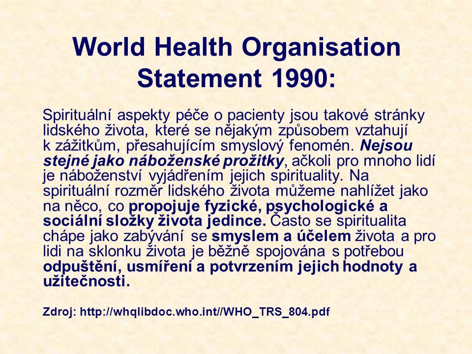 Nursing Concepts for Health Promotion Spiritualita je hodnota, která přesahuje náboženské začlenění, jež usiluje o inspiraci, úctu, respekt, smysl a účel, dokonce i u těch, kteří nevěří v Boha.