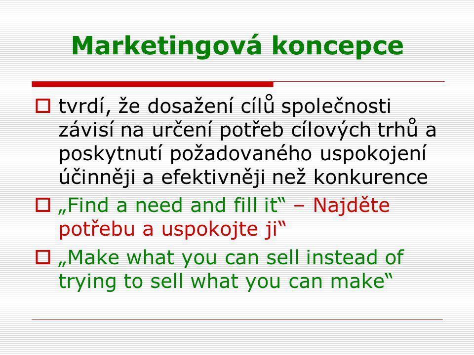 Marketingová koncepce  tvrdí, že dosažení cílů společnosti závisí na určení potřeb cílových trhů a poskytnutí požadovaného uspokojení účinněji a efek
