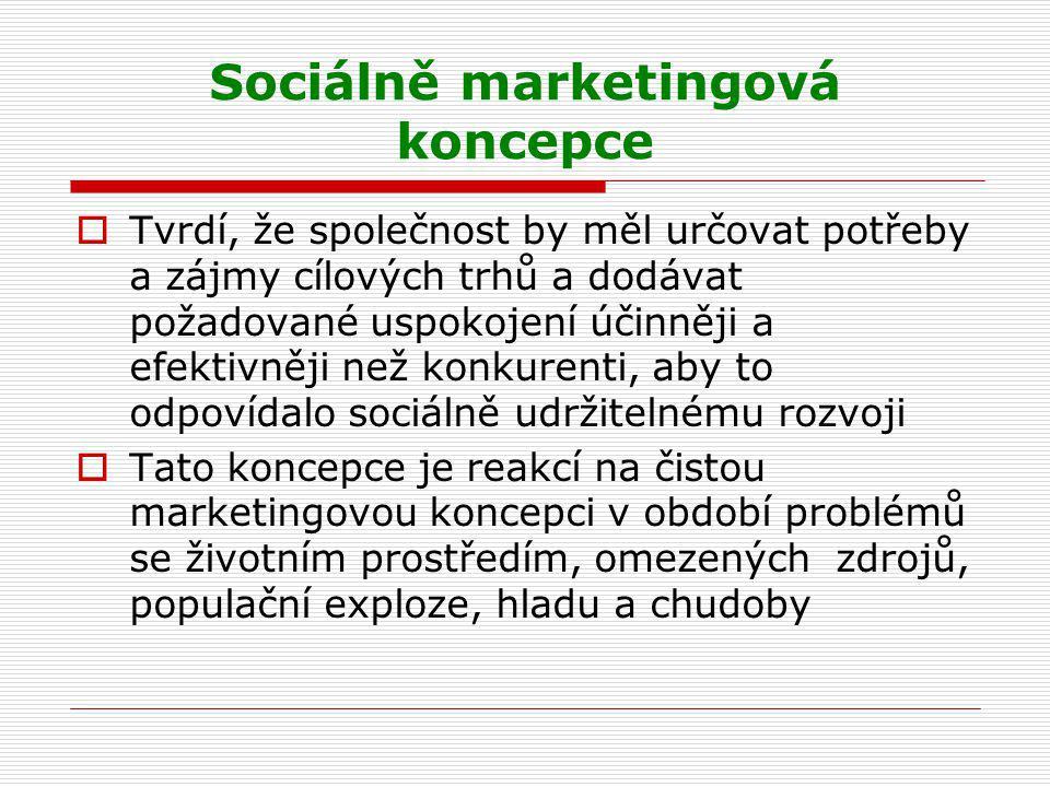 Sociálně marketingová koncepce  Tvrdí, že společnost by měl určovat potřeby a zájmy cílových trhů a dodávat požadované uspokojení účinněji a efektivn