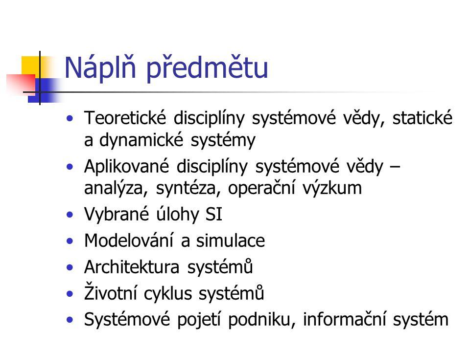 Náplň předmětu Teoretické disciplíny systémové vědy, statické a dynamické systémy Aplikované disciplíny systémové vědy – analýza, syntéza, operační vý