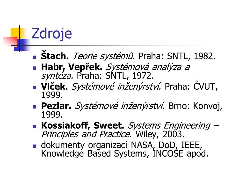 Zdroje Štach. Teorie systémů. Praha: SNTL, 1982. Habr, Vepřek. Systémová analýza a syntéza. Praha: SNTL, 1972. Vlček. Systémové inženýrství. Praha: ČV