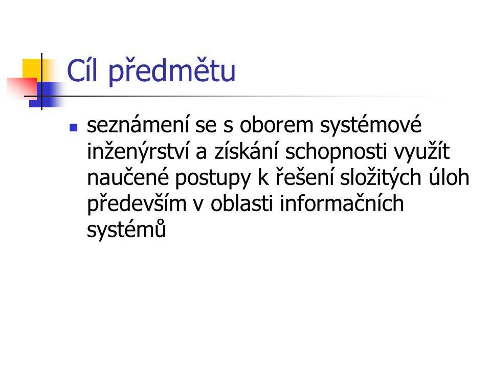 okolí projektu vnější prostředí Postavení SI v organizaci okolí organizace okolí projektu proces SI výroba a testování produkty procesy informace tržní příležitosti produkt Zdroj: IEEE Interim Standard 1220-1994 Standard for Application and Management of the Systems Engineering Process