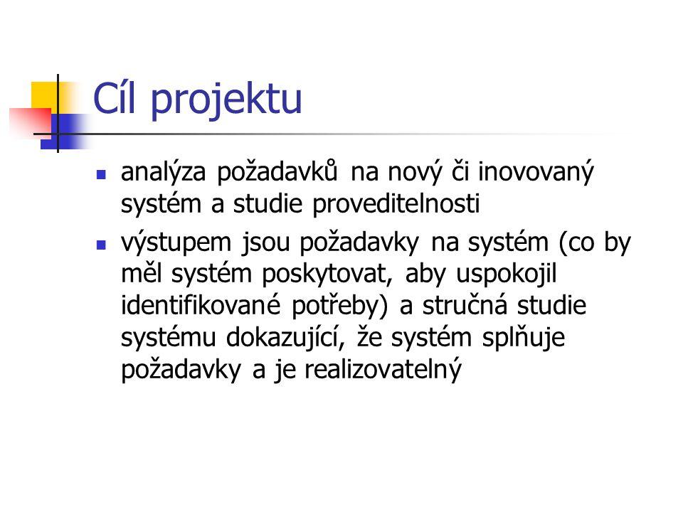 Cíl projektu analýza požadavků na nový či inovovaný systém a studie proveditelnosti výstupem jsou požadavky na systém (co by měl systém poskytovat, ab
