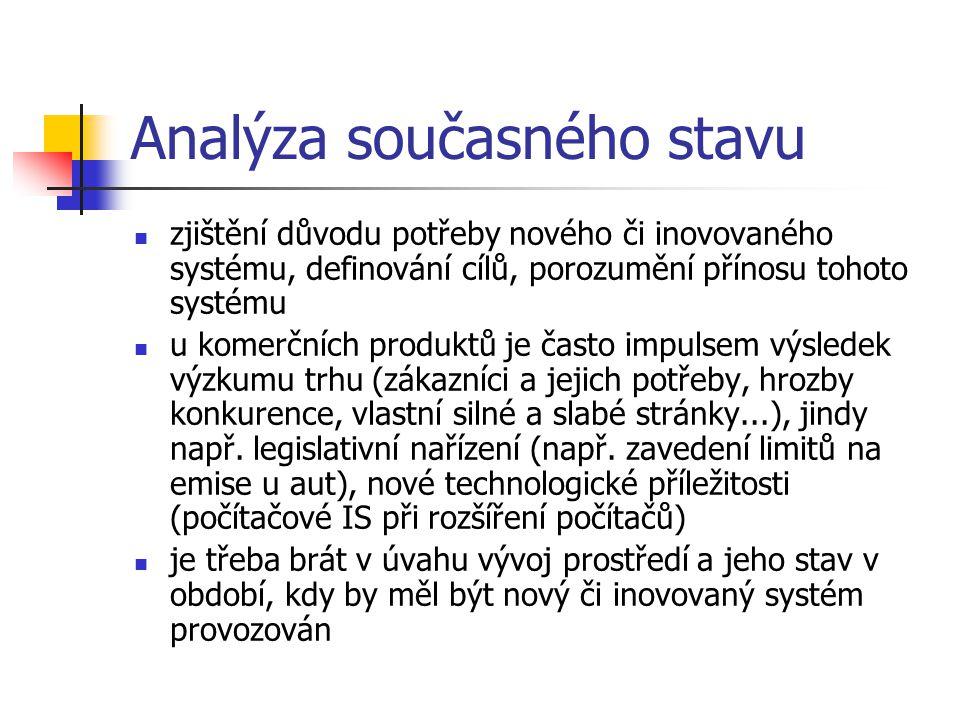 Analýza současného stavu zjištění důvodu potřeby nového či inovovaného systému, definování cílů, porozumění přínosu tohoto systému u komerčních produk