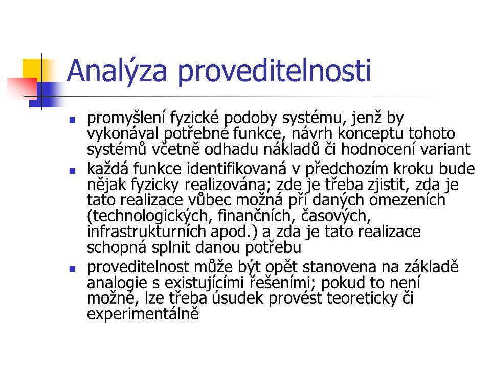 Analýza proveditelnosti promyšlení fyzické podoby systému, jenž by vykonával potřebné funkce, návrh konceptu tohoto systémů včetně odhadu nákladů či h