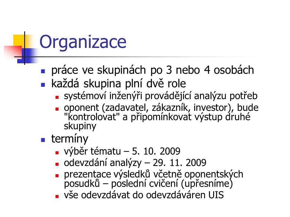 Organizace práce ve skupinách po 3 nebo 4 osobách každá skupina plní dvě role systémoví inženýři provádějící analýzu potřeb oponent (zadavatel, zákazn
