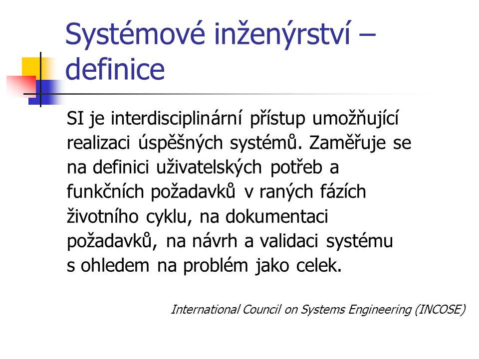 Systémové inženýrství – definice Obor sloužící jako zprostředkovatel mezi teorií systémů a jejími úlohami.