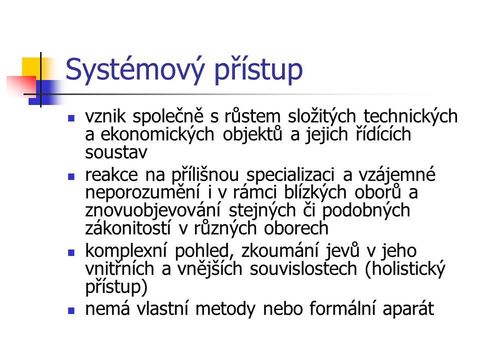 Systémový přístup vznik společně s růstem složitých technických a ekonomických objektů a jejich řídících soustav reakce na přílišnou specializaci a vz