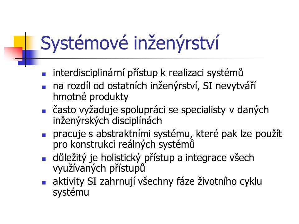 Systémové inženýrství interdisciplinární přístup k realizaci systémů na rozdíl od ostatních inženýrství, SI nevytváří hmotné produkty často vyžaduje s