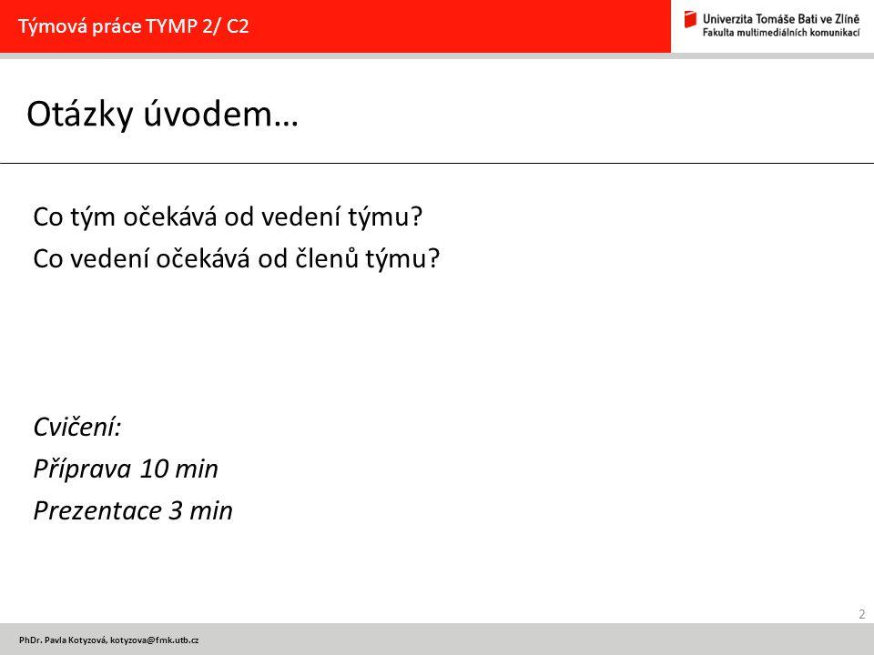 13 PhDr.Pavla Kotyzová, kotyzova@fmk.utb.cz Cvičení Týmová práce TYMP 2/ C2 Vyřešte v týmech úkol.