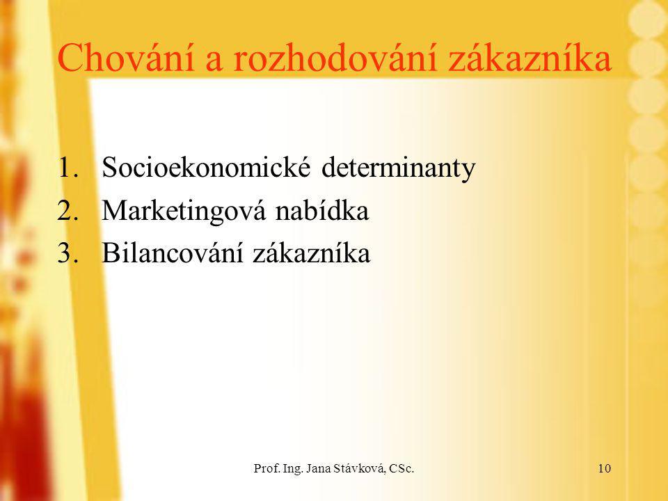 Prof. Ing. Jana Stávková, CSc.10 Chování a rozhodování zákazníka 1.Socioekonomické determinanty 2.Marketingová nabídka 3.Bilancování zákazníka