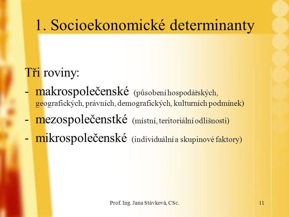 Prof. Ing. Jana Stávková, CSc.11 1. Socioekonomické determinanty Tři roviny: -makrospolečenské (působení hospodářských, geografických, právních, demog