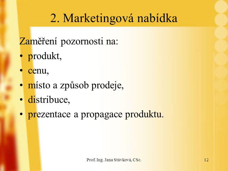 Prof. Ing. Jana Stávková, CSc.12 2. Marketingová nabídka Zaměření pozornosti na: produkt, cenu, místo a způsob prodeje, distribuce, prezentace a propa