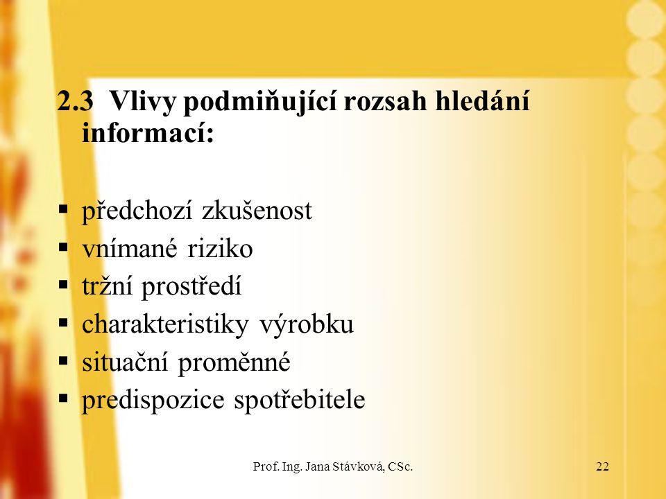 Prof. Ing. Jana Stávková, CSc.22 2.3 Vlivy podmiňující rozsah hledání informací:  předchozí zkušenost  vnímané riziko  tržní prostředí  charakteri