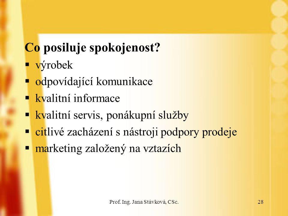 Prof. Ing. Jana Stávková, CSc.28 Co posiluje spokojenost?  výrobek  odpovídající komunikace  kvalitní informace  kvalitní servis, ponákupní služby