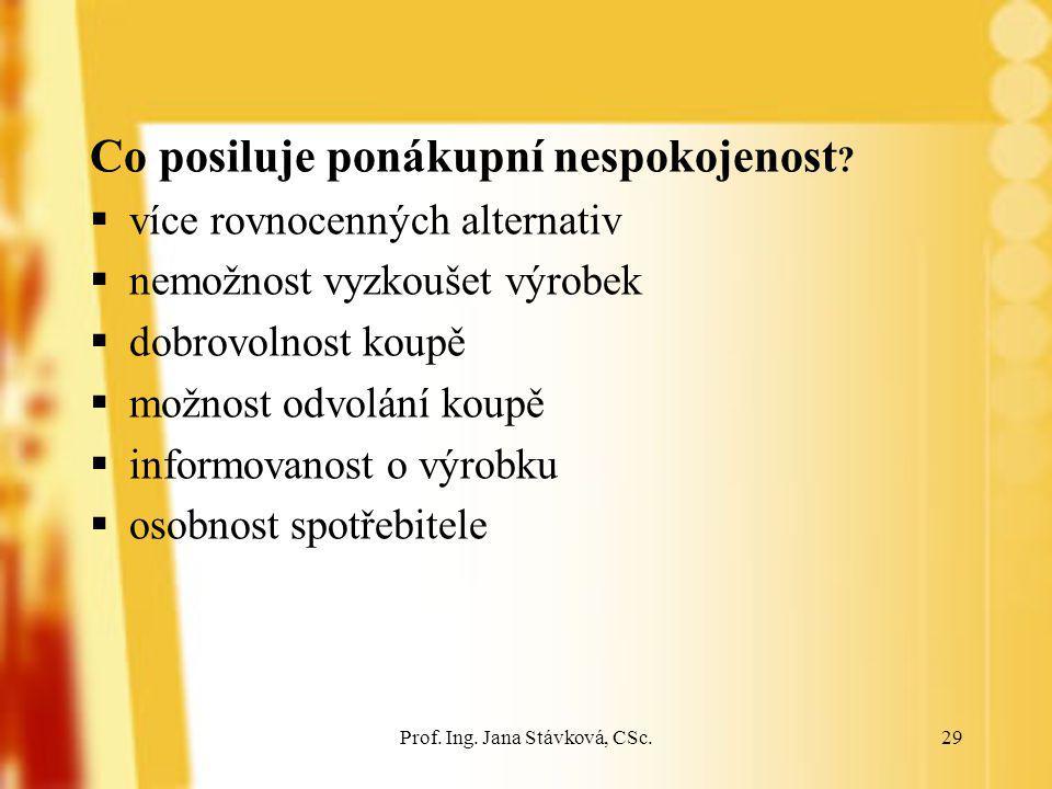 Prof. Ing. Jana Stávková, CSc.29 Co posiluje ponákupní nespokojenost ?  více rovnocenných alternativ  nemožnost vyzkoušet výrobek  dobrovolnost kou