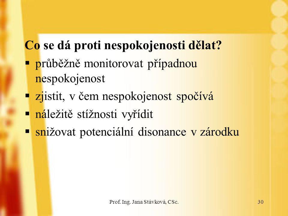 Prof. Ing. Jana Stávková, CSc.30 Co se dá proti nespokojenosti dělat?  průběžně monitorovat případnou nespokojenost  zjistit, v čem nespokojenost sp