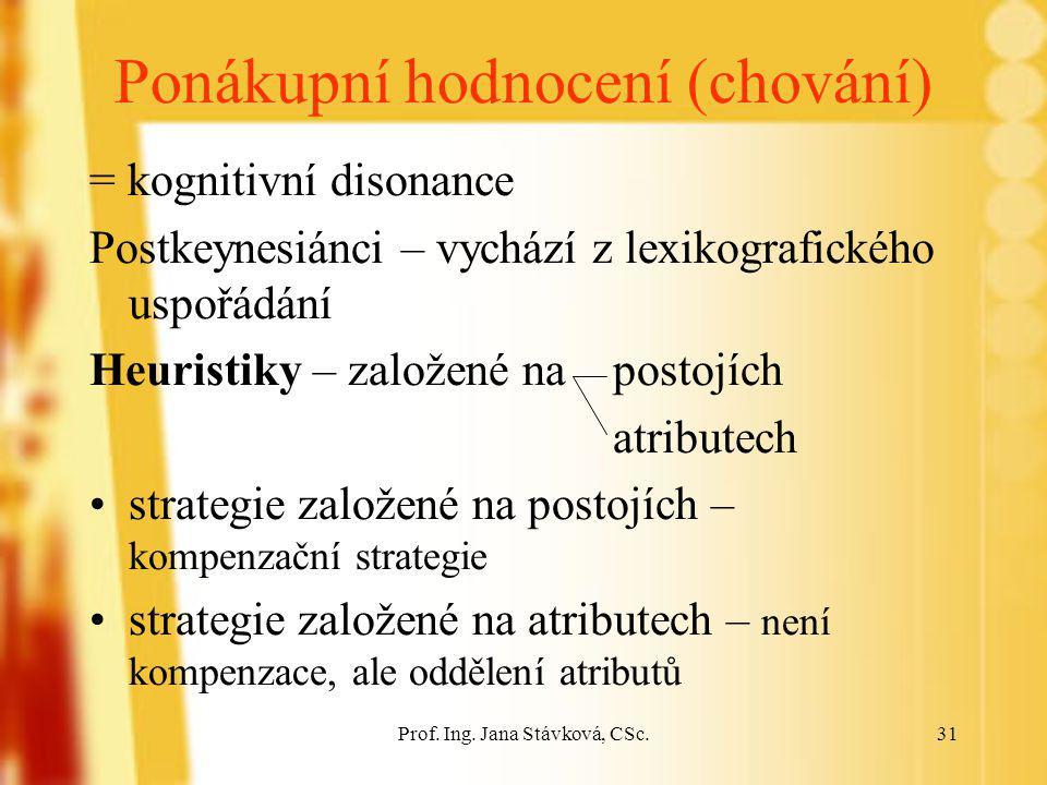 Prof. Ing. Jana Stávková, CSc.31 Ponákupní hodnocení (chování) = kognitivní disonance Postkeynesiánci – vychází z lexikografického uspořádání Heuristi