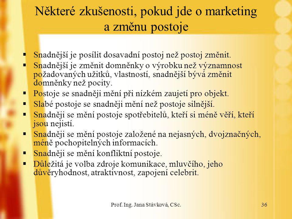 Prof. Ing. Jana Stávková, CSc.36 Některé zkušenosti, pokud jde o marketing a změnu postoje  Snadnější je posílit dosavadní postoj než postoj změnit.