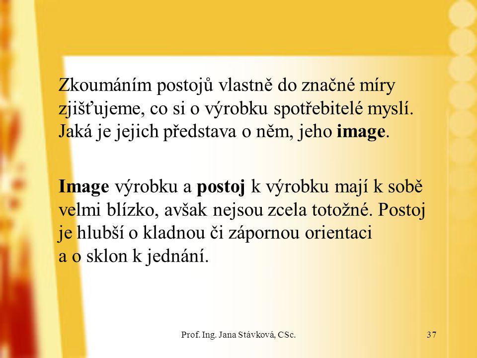Prof. Ing. Jana Stávková, CSc.37 Zkoumáním postojů vlastně do značné míry zjišťujeme, co si o výrobku spotřebitelé myslí. Jaká je jejich představa o n