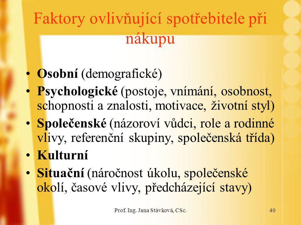 Prof. Ing. Jana Stávková, CSc.40 Faktory ovlivňující spotřebitele při nákupu Osobní (demografické) Psychologické (postoje, vnímání, osobnost, schopnos