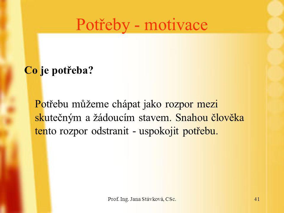 Prof. Ing. Jana Stávková, CSc.41 Potřeby - motivace Co je potřeba? Potřebu můžeme chápat jako rozpor mezi skutečným a žádoucím stavem. Snahou člověka