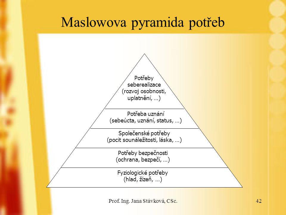Prof. Ing. Jana Stávková, CSc.42 Maslowova pyramida potřeb Fyziologické potřeby (hlad, žízeň, …) Potřeby bezpečnosti (ochrana, bezpečí, …) Společenské