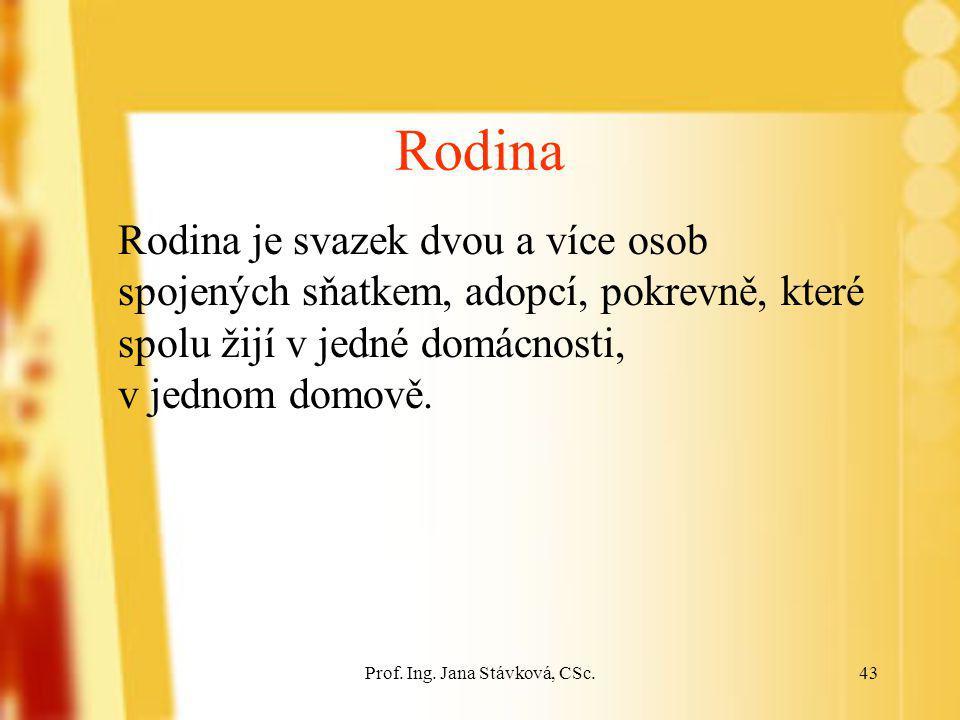 Prof. Ing. Jana Stávková, CSc.43 Rodina Rodina je svazek dvou a více osob spojených sňatkem, adopcí, pokrevně, které spolu žijí v jedné domácnosti, v
