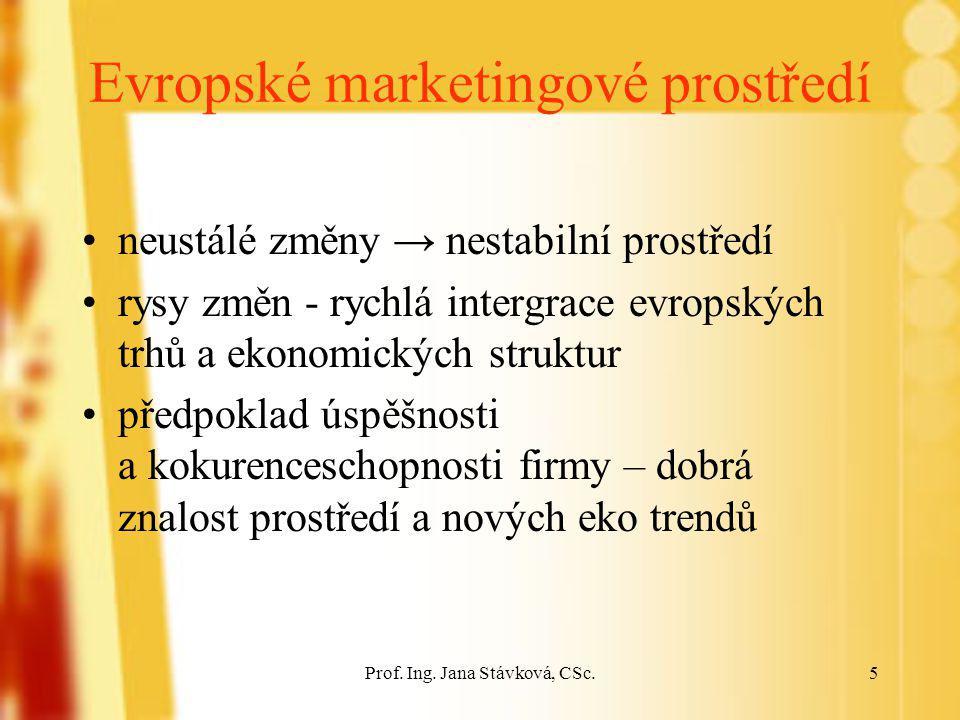 Prof. Ing. Jana Stávková, CSc.5 Evropské marketingové prostředí neustálé změny → nestabilní prostředí rysy změn - rychlá intergrace evropských trhů a