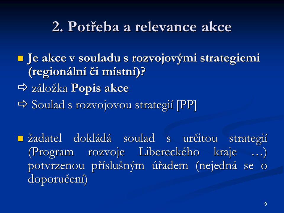 10 2.Potřeba a relevance akce Jaká je vazba na jiné aktivity.