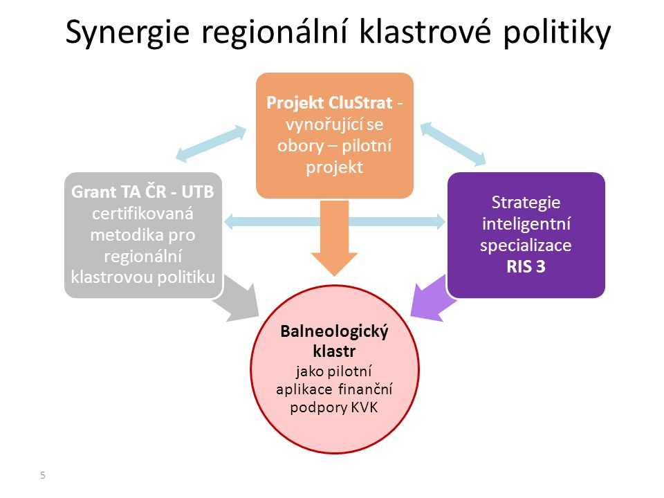 Synergie regionální klastrové politiky Balneologický klastr jako pilotní aplikace finanční podpory KVK Grant TA ČR - UTB certifikovaná metodika pro regionální klastrovou politiku Projekt CluStrat - vynořující se obory – pilotní projekt Strategie inteligentní specializace RIS 3 5